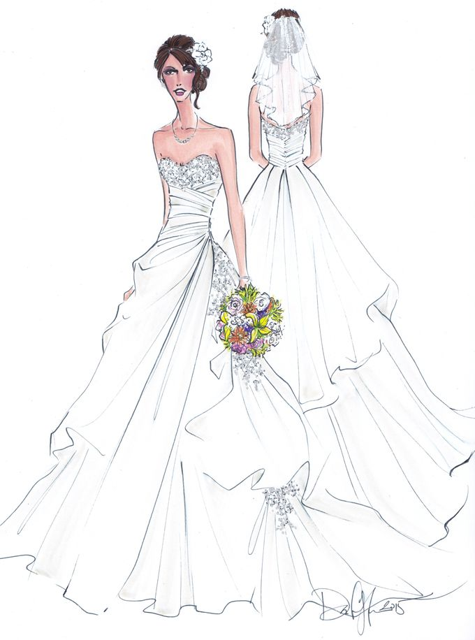 Custom frontal with back view bridal illustration by Illustrative Moments - 015