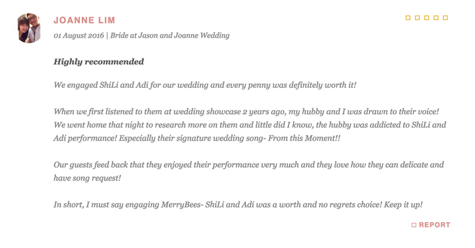 Testimonials from Wedding Couples by Merry Bees Live Music - 025