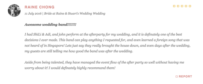 Testimonials from Wedding Couples by Merry Bees Live Music - 026