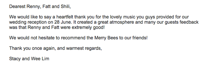 Testimonials from Wedding Couples by Merry Bees Live Music - 005