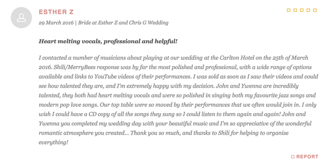 Testimonials from Wedding Couples by Merry Bees Live Music - 028