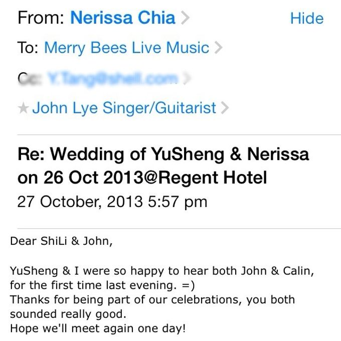 Testimonials from Wedding Couples by Merry Bees Live Music - 007