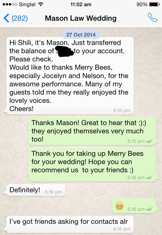 Testimonials from Wedding Couples by Merry Bees Live Music - 009