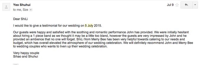 Testimonials from Wedding Couples by Merry Bees Live Music - 011