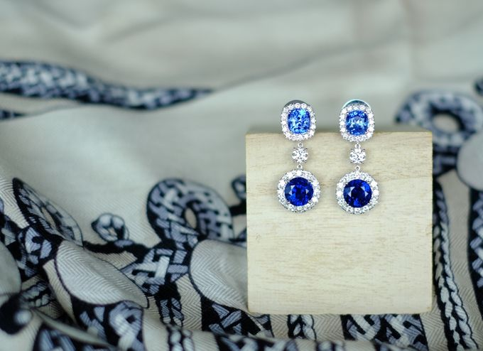 Bespoke Unheated Sapphire Wedding Earrings by Heritage Gems Singapore - 004