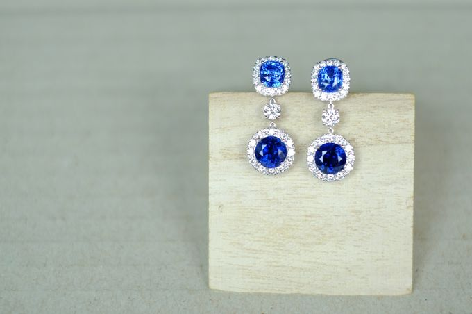 Bespoke Unheated Sapphire Wedding Earrings by Heritage Gems Singapore - 003
