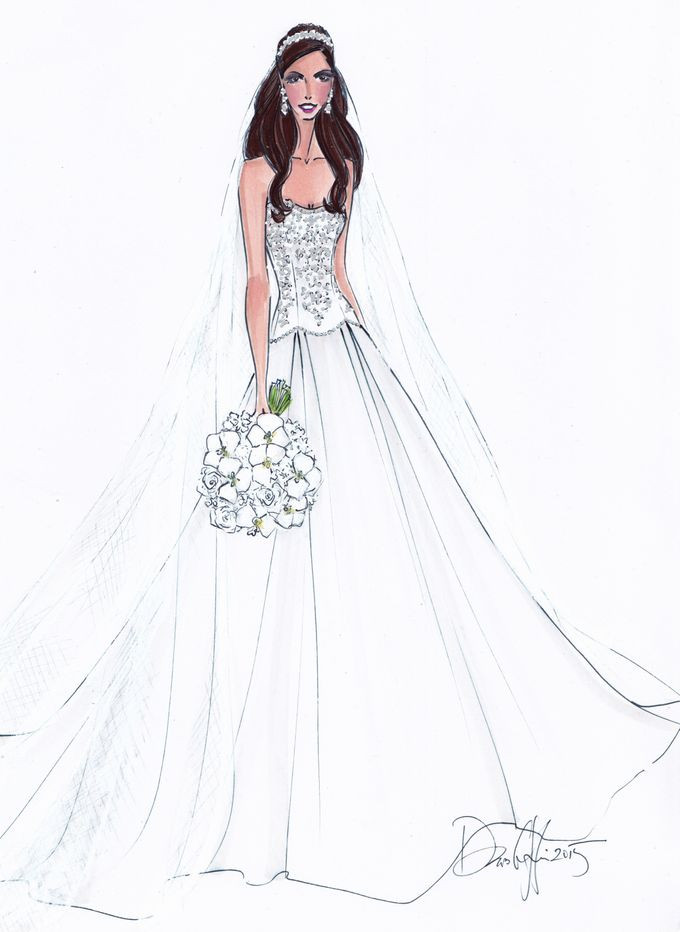 Custom frontals bridal illustration by Illustrative Moments - 016