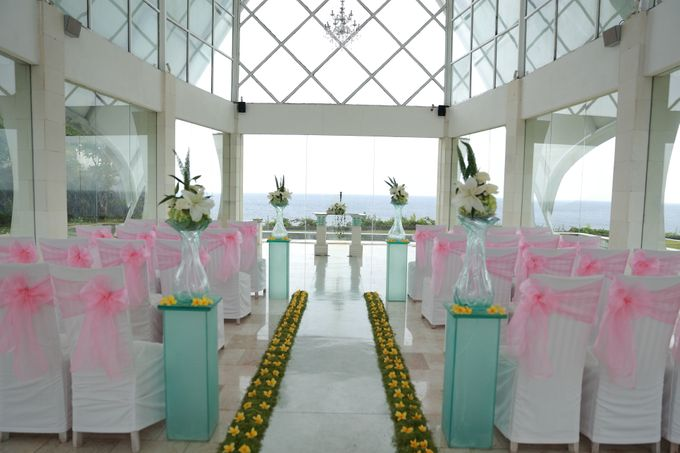 our chapel and water wedding decor by Jc Florist Bali - 005