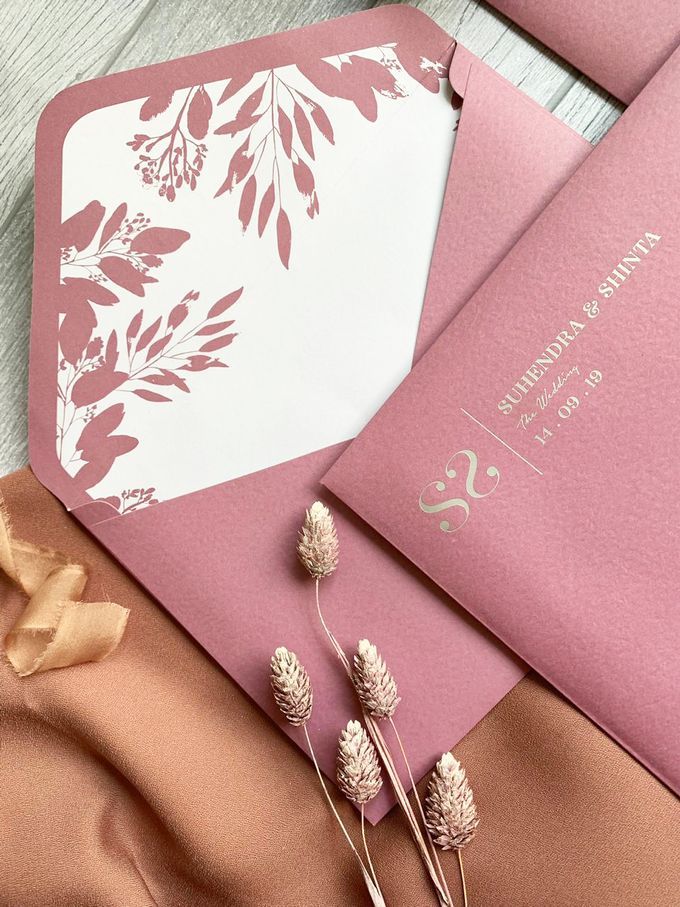 Modern Dusty Pink Botanical by Trouvaille Invitation - 004