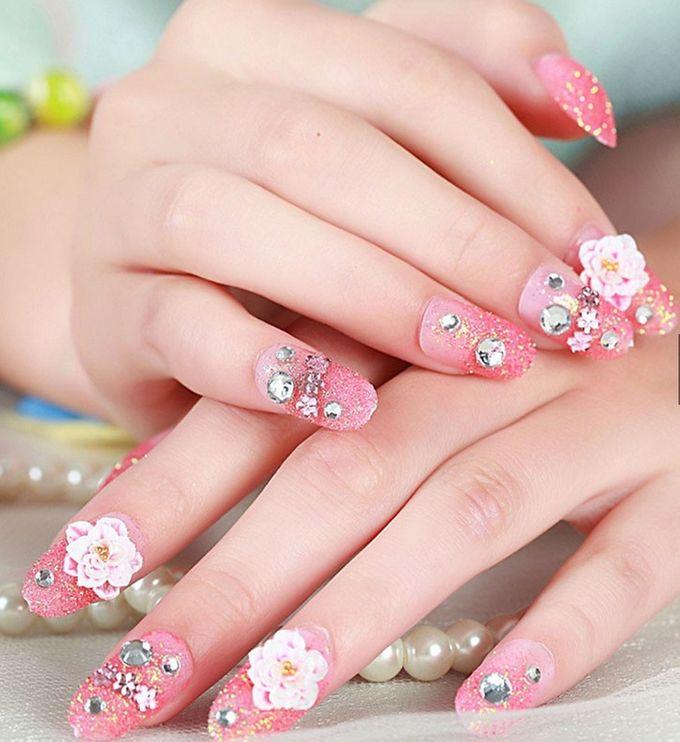 nail art- 24 pcs kuku palsu dengan warna pink dan hiasan bunga by Triwindu shop - 002