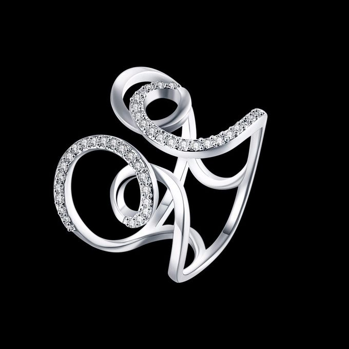 TIARIA Diamond Curly Gold Ring Perhiasan Cincin Emas Berlian by TIARIA - 006