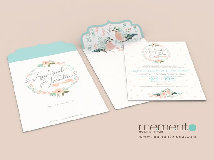 Floral Bird Wedding Card by Memento Idea - 002