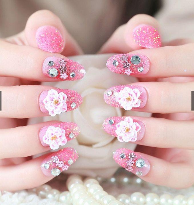nail art- 24 pcs kuku palsu dengan warna pink dan hiasan bunga by Triwindu shop - 004