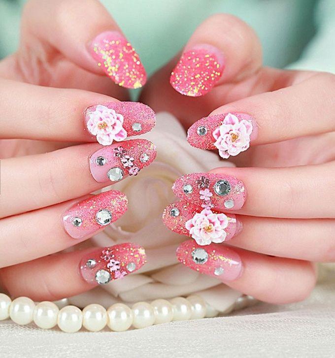 nail art- 24 pcs kuku palsu dengan warna pink dan hiasan bunga by Triwindu shop - 005