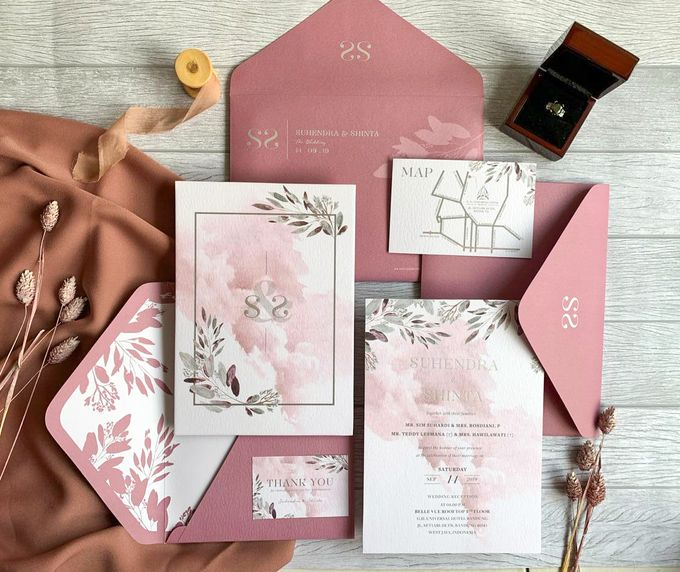 Modern Dusty Pink Botanical by Trouvaille Invitation - 005