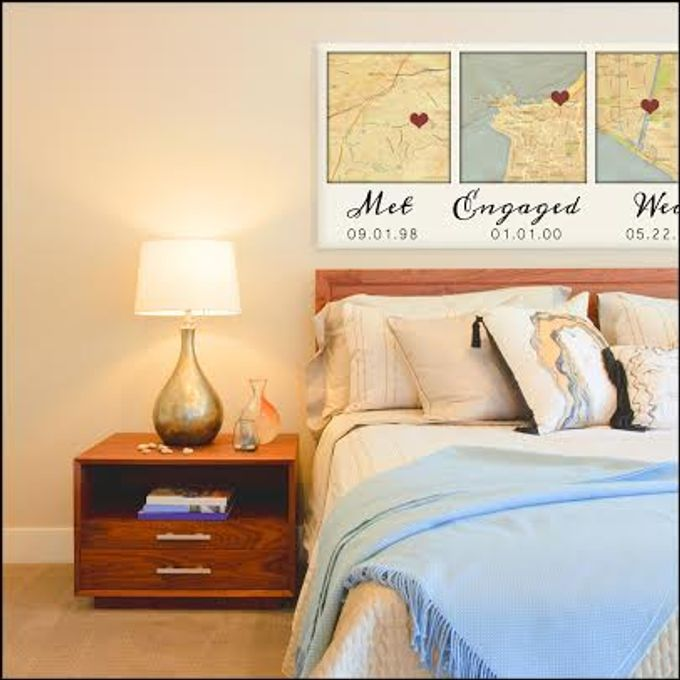 Custom Map Wall Art YOUR 3 Special Locations Canvas Holiday Gift for ...