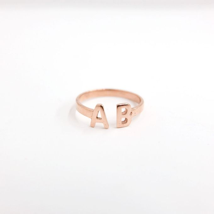 18ct Double Initial Ring by AEROCULATA - 001