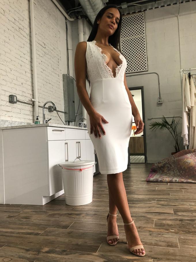 'Tahari' Lace V-Neck Dress by Ariti Kaziris - 006