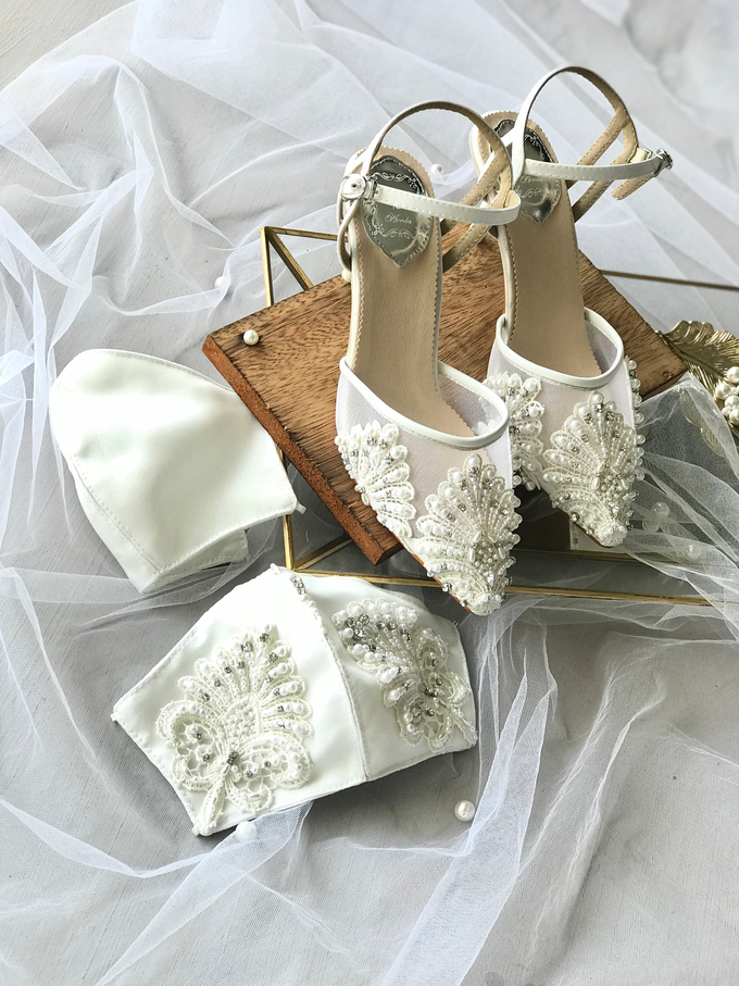 Customised Couple's mask with Wedding Shoes by Aveda Footwear - 001