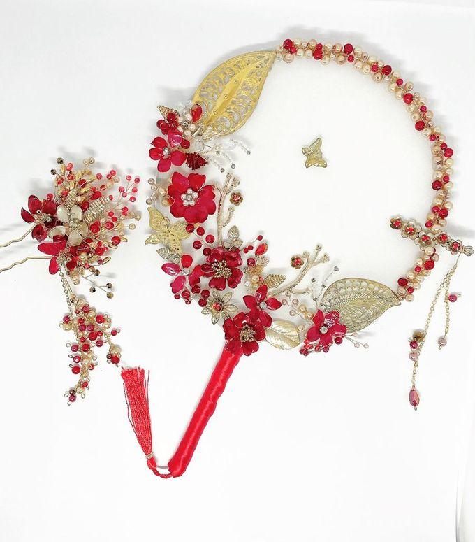 CustomMade Sangjit Fan & Hairpin by Brides Choice - 002