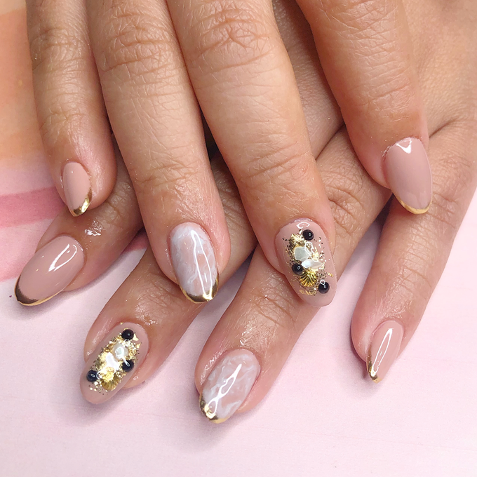 Japanese stone wedding nails by Belleza Nails - 003