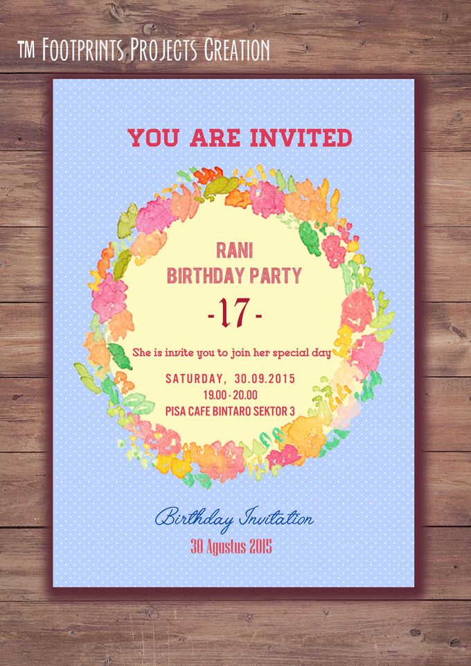 birthday party invitation wreath blue by footprints projects