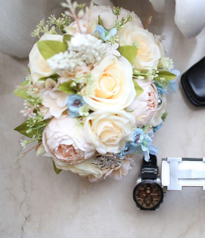 Artificial Wedding Hand bouquet - Peach Peony & Cream Rose by raia_fleurs - 001