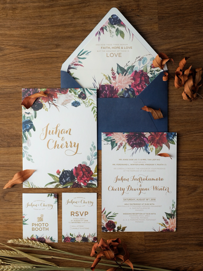 Juhan & Cherry Wedding Invitation by Bluebelle Invitations - 002