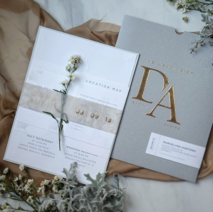 Donny & Audina Grey and Gold wedding invitation by Bluebelle Invitations - 002