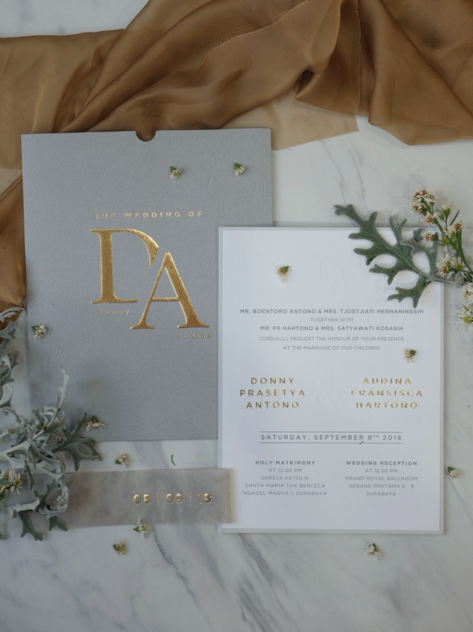 Donny & Audina Grey and Gold wedding invitation by Bluebelle Invitations - 007