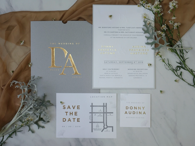 Donny & Audina Grey and Gold wedding invitation by Bluebelle Invitations - 008