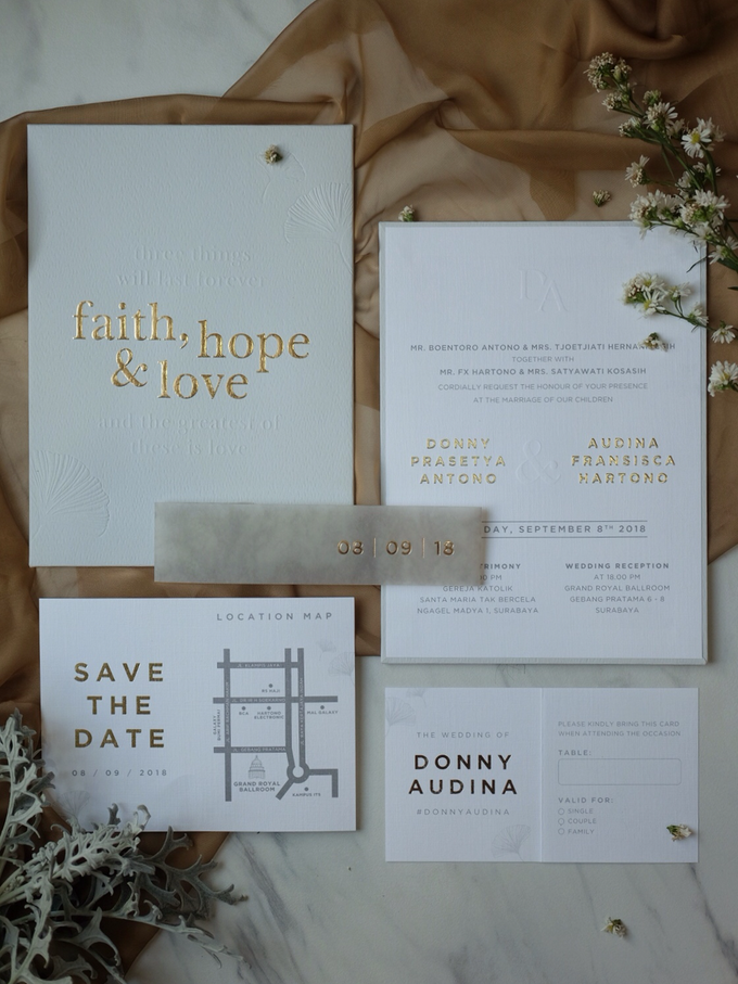Donny & Audina Grey and Gold wedding invitation by Bluebelle Invitations - 010