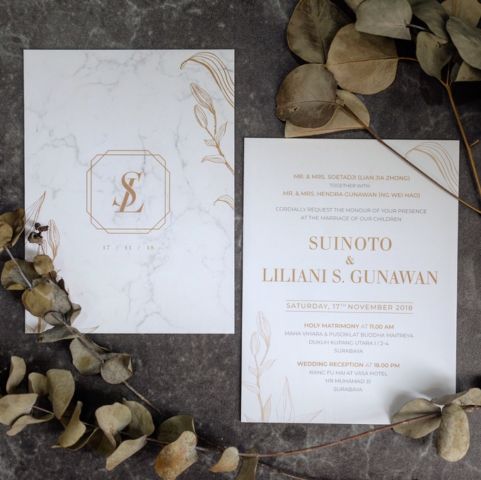 Suinoto & Liliani Marble Wedding Invitation by Bluebelle Invitations - 001