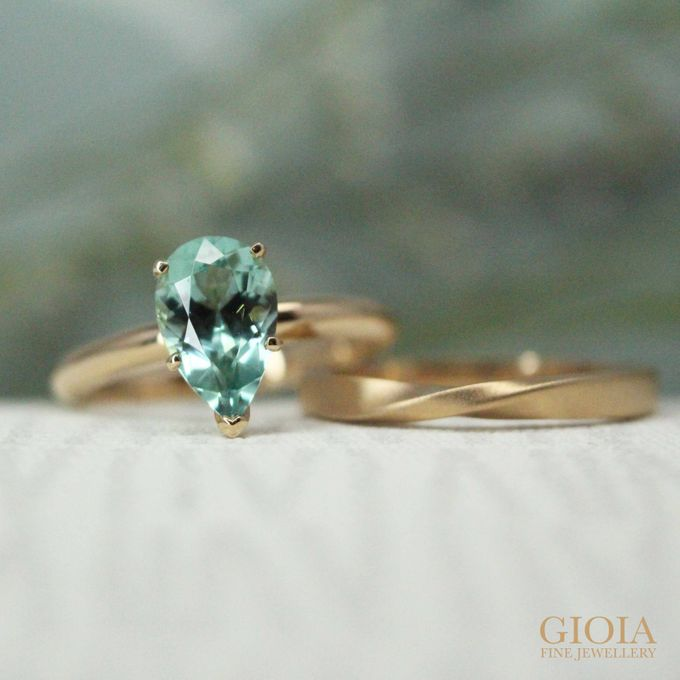 Tourmaline Engagement Ring with Wedding bands by GIOIA FINE JEWELLERY - 002
