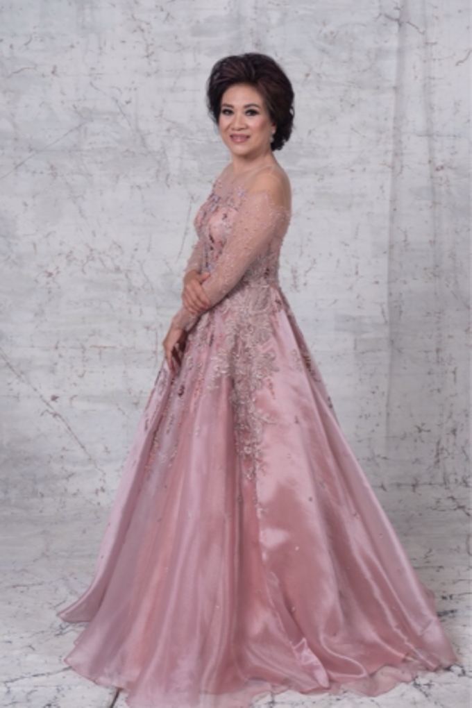 Groom and bride family-pastel colors gowns by Boenga Bridal Couture - 006