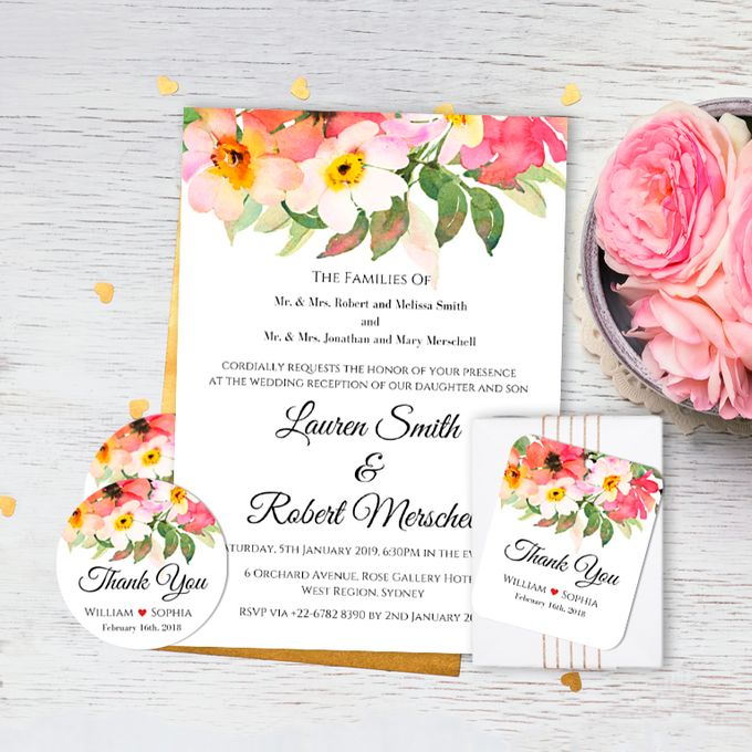 Romantic Bouquet Wedding Invitation by Gift Elements - 001