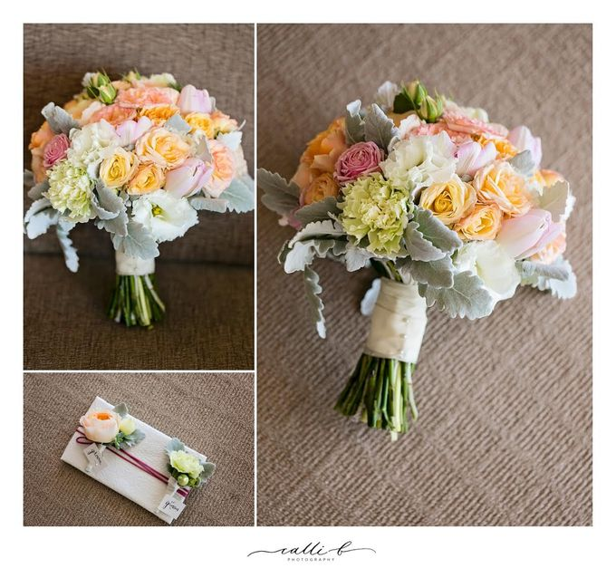 An Ebb wedding with mint and peach by Ginger Lily & Rose Floral Studio - 004