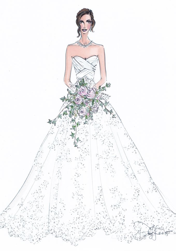 Custom frontals bridal illustration by Illustrative Moments - 015