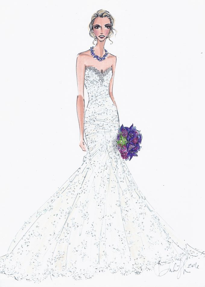 Custom frontals bridal illustration by Illustrative Moments - 005