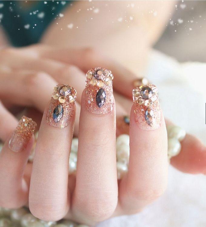 nail art- 24 pcs kuku palsu dengan warna gold super mewah by Triwindu shop - 002