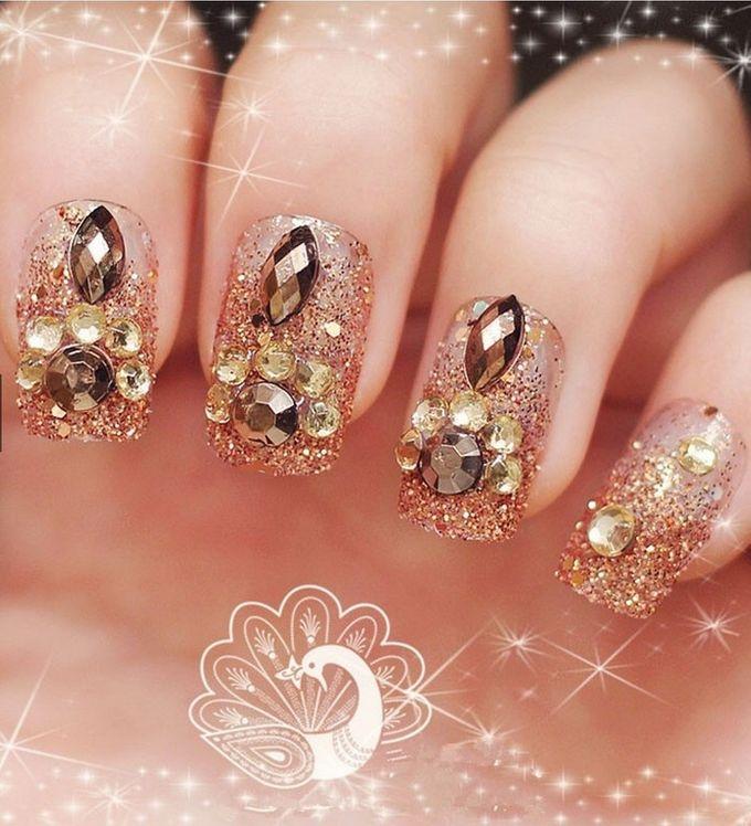 nail art- 24 pcs kuku palsu dengan warna gold super mewah by Triwindu shop - 004