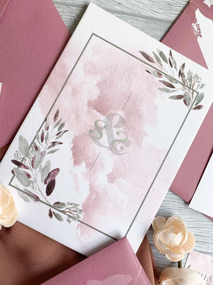 Modern Dusty Pink Botanical by Trouvaille Invitation - 006