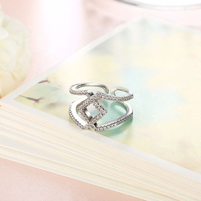 TIARIA Diamond Stack Gold Ring Perhiasan Cincin Emas Berlian by TIARIA - 009