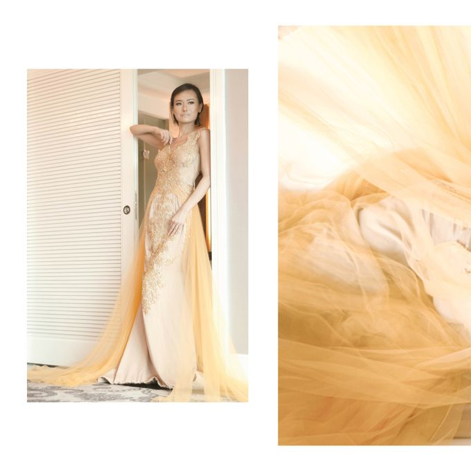 Gold - Champagne Couture Evening Gown by Yenny Lee Bridal Couture - 001