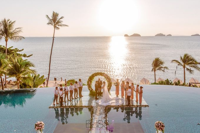 Romantic wedding ceremony on the over water with transparency stage at conrad koh samui by BLISS Events & Weddings Thailand - 006