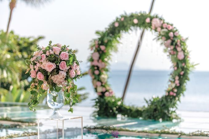 Romantic wedding ceremony on the over water with transparency stage at conrad koh samui by BLISS Events & Weddings Thailand - 001
