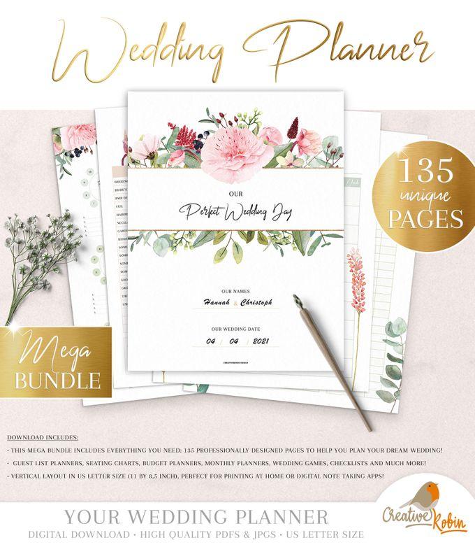 Printable Wedding Planner | Wedding Organizer | Bridesmaid Planner | Bride Planner | Wedding Checklist | 135 Pages Printable Planner by CreativeRobin - 001