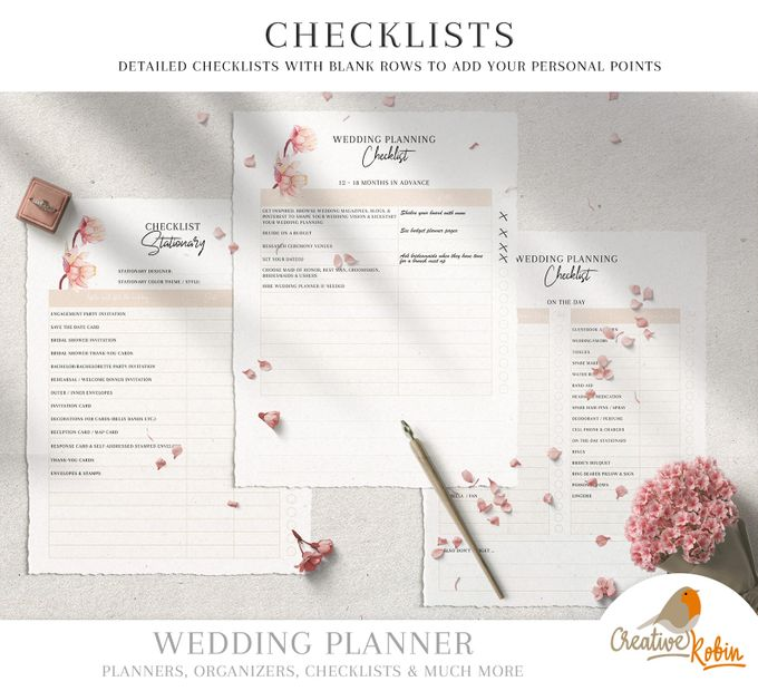 Printable Wedding Planner | Wedding Organizer | Bridesmaid Planner | Bride Planner | Wedding Checklist | 135 Pages Printable Planner by CreativeRobin - 003