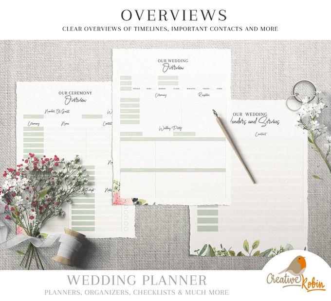 Printable Wedding Planner | Wedding Organizer | Bridesmaid Planner | Bride Planner | Wedding Checklist | 135 Pages Printable Planner by CreativeRobin - 009