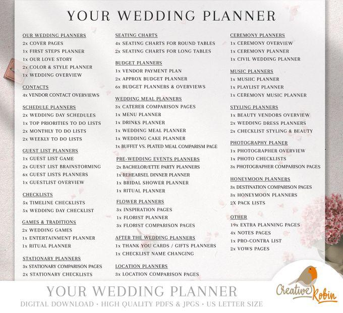 Printable Wedding Planner | Wedding Organizer | Bridesmaid Planner | Bride Planner | Wedding Checklist | 135 Pages Printable Planner by CreativeRobin - 010